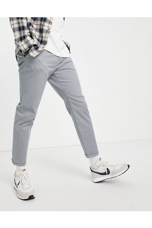 New Look Pleated chino trousers in grey-Blue