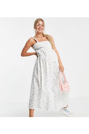 ASOS ASOS DESIGN maternity shirred elastic back jumpsuit in meadow floral-Multi