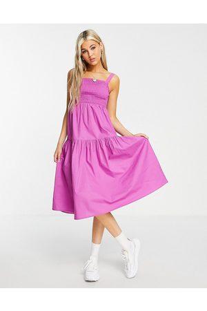 VIOLET ROMANCE Shirred front midi dress in purple
