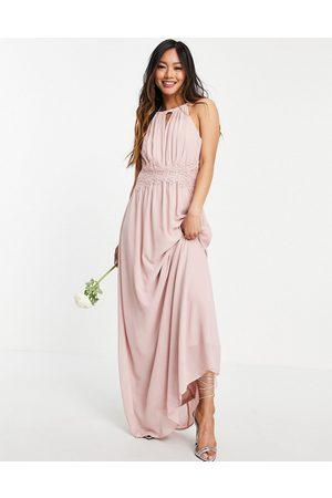 VILA Damen Lange Kleider - Bridesmaid maxi halterneck dress in pink