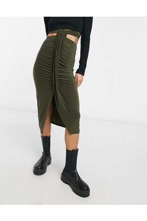 ASOS Ruched midi skirt with cut out waist detail in khaki-Green