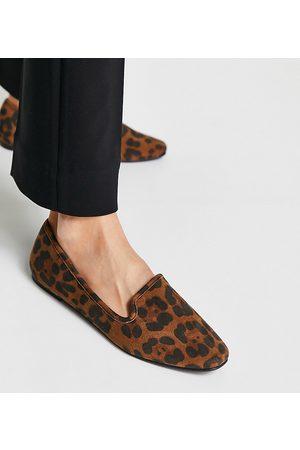 ASOS Damen Halbschuhe - Wide Fit Lakeside slipper ballet flats in leopard-Multi