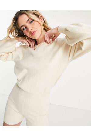 ASOS Lounge knitted playsuit in cream-White