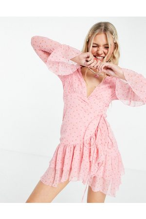 ASOS Dobby mini wrap dress with fluted sleeve in pink spot print-Multi