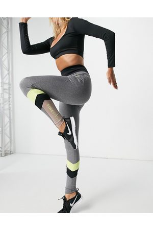 Pink Soda Sport havana colour block leggings in grey and lime