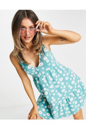 ASOS Button through smock dress in green daisy floral print