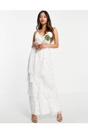 VILA Bridal cami smock dress with tiered skirt in light floral-White