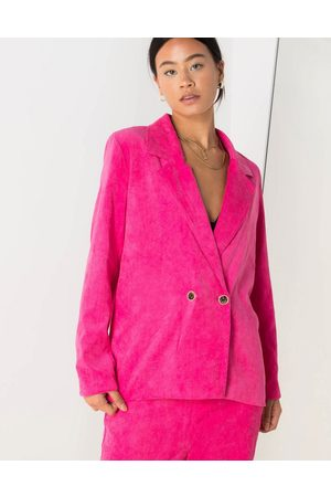 Daisy Street Relaxed blazer with vintage buttons in bright cord co-ord-Pink