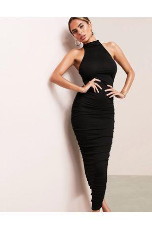 ASOS ASOS DESIGN ruched racer front neck midi dress in black