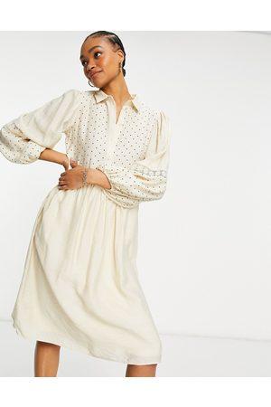 VILA Polka dot midi shirt dress with crochet insert-White
