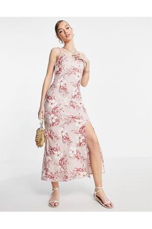 ASOS Linen cami maxi dress in pink tropical print-Multi