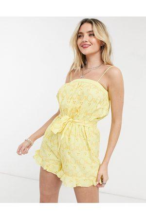 ASOS Lemon broderie frill hem tie waist playsuit in lemon-Yellow