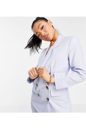 ASOS ASOS DESIGN Petite clean double breasted linen suit blazer in blue