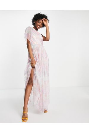ANAYA With Love tulle one shoulder maxi dress in floral print-Multi