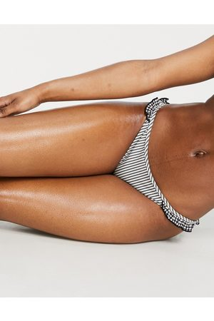 Aerie Co-ord gingham ruffle bikini bottoms in black
