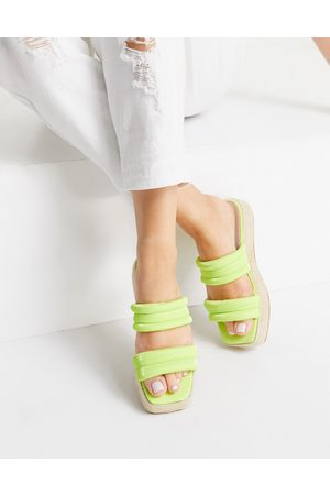 ASOS Jumble padded espadrille mules in chartreuse-Green