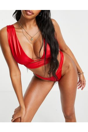 ASOS Fuller bust gathered deep wrap crop bikini top in red