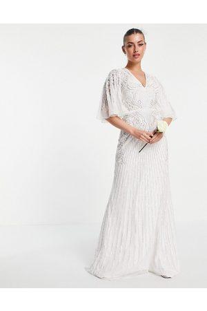 ASOS Eliza flutter sleeve embellished wedding dress-White