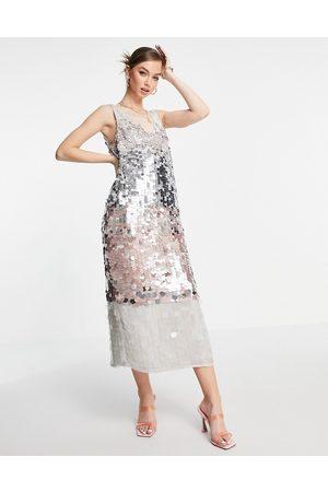ASOS Column midi dress in ombre paillette sequin-Multi