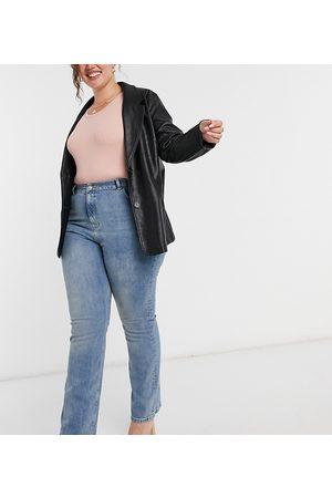 ASOS ASOS DESIGN Curve high rise '70's' stretch flare jeans in vintage midwash-Blue