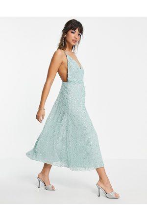 ASOS Embellished cami midi dress-Blue