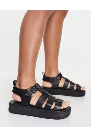 Office Fisherman leather chunky sandals in black