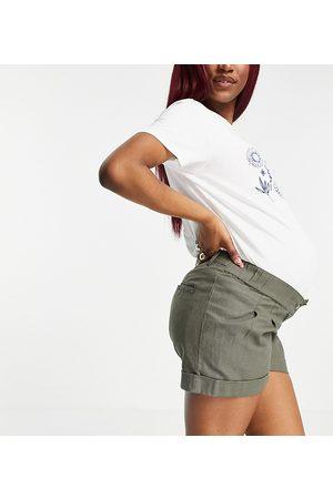 ASOS Damen Bauchbänder - ASOS DESIGN Maternity pleat front linen wide leg short in khaki with under the bump band-Green