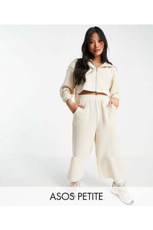 ASOS ASOS DESIGN Petite tracksuit zip through hoodie / culotte trouser in fluffy texture in beige-White