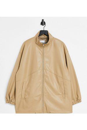 ASOS Damen Lederjacken - Curve faux leather bomber jacket in camel-Grey