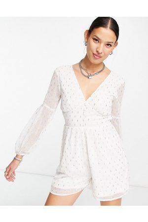 VIOLET ROMANCE Damen Jumpsuits - Playsuit with lace up back in white