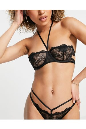 ASOS Nala lace bandeau bra with multi strapping-Black