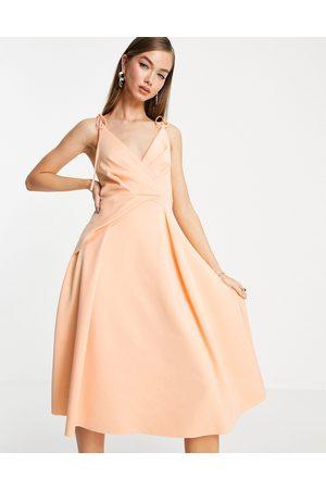 ASOS Damen Midikleider - Spaghetti strap wrap tuck midi skater dress in apricot pink-Multi