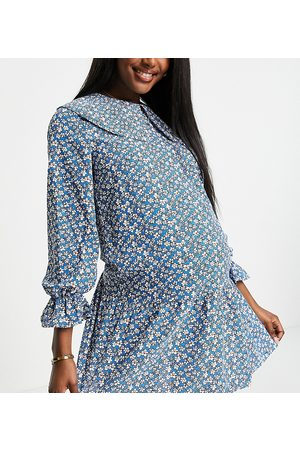 Pieces Maternity Mini smock dress with exaggerated collar in blue ditsy floral-Multi