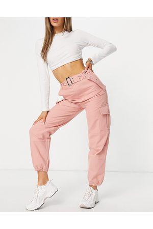 Signature Damen Cargohosen - Belted cargo trouser in pink