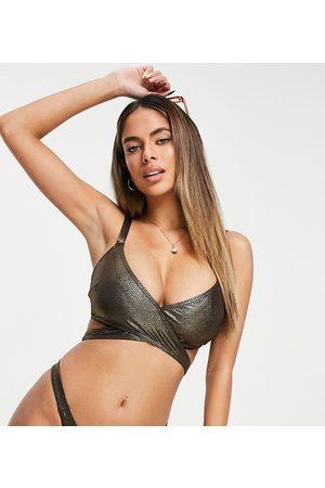 Wolf & Whistle Fuller Bust Exclusive wrap bikini top in coffee glitter-Brown
