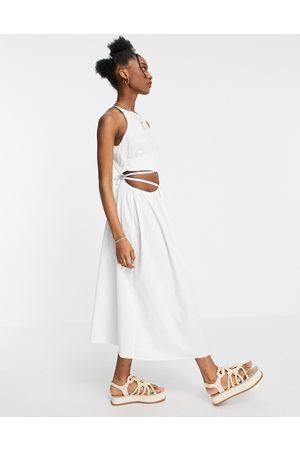 ASOS Damen Midikleider - Cotton poplin tie wrap midi sundress in white