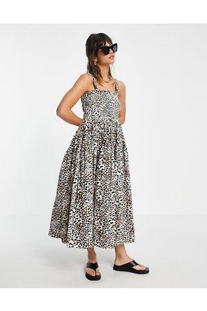 ASOS Damen Bedruckte Kleider - Cami midi sundress with raw edges in animal print-Multi