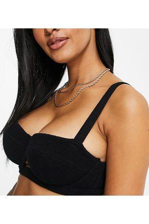 Wolf & Whistle Fuller Bust Exclusive underwire bikini top in black scrunch
