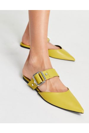 ASOS Loft buckle hardware pointed ballet mules in chartruse-Yellow