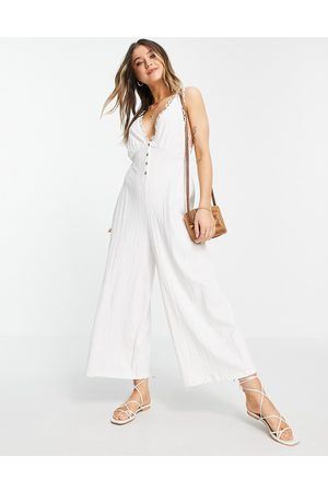 ASOS Button front lace trim swing jumpsuit in white
