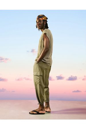 ASOS Drop crotch cargo linen mix trousers in khaki-Green