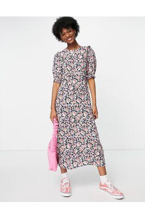 Nobody's Child High neck midi tea dress in dark floral-Multi