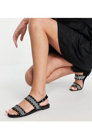 Miss KG Wide fit detroit flat sandals in black