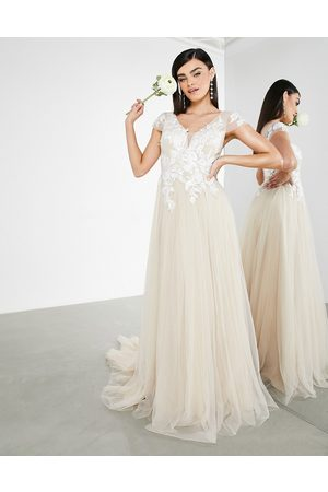 ASOS Josie mesh wedding dress with embroidered bodice and cap sleeve in cappuccino-Neutral