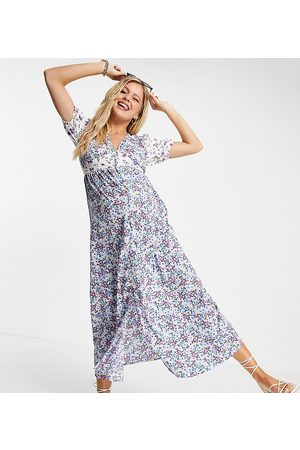 Violet Romance Maternity Maxi dress in mix and match floral-Multi
