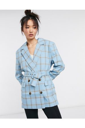 ASOS Mansy double breasted suit blazer in blue grid check-Multi