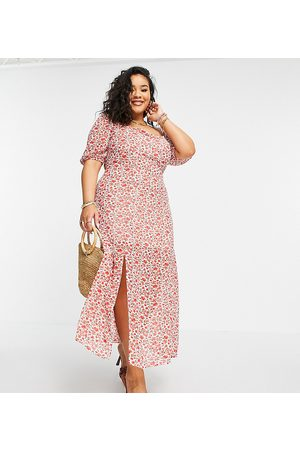 In The Style X Jac Jossa puff sleeve maxi dress with thigh split in red floral print-Multi