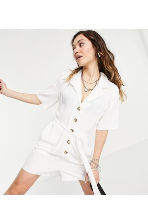 Reclaimed Inspired belted playsuit with tortoiseshell buttons in white