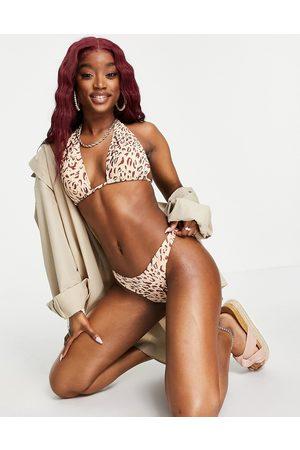 Cotton On Gathered Brazilian bum bikini bottoms co ord in leopard-Brown
