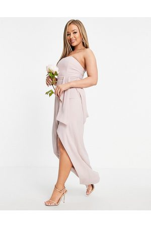 TFNC Bridesmaid bandeau wrap midaxi dress with pleated detail in mink-Pink